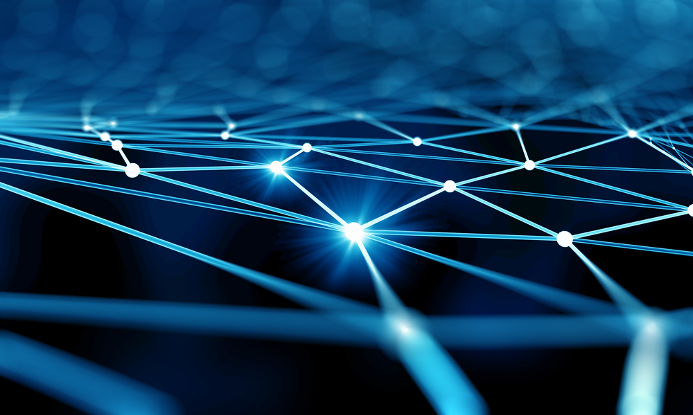 Blue virtual technology background with lines and grids-2