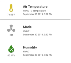 A dashboard panel showing the visual status of the air temp, mode, and humidity for an industrial, PLC-based machinery using the Moxa UC-8112A gateway and ExoSense bundle.